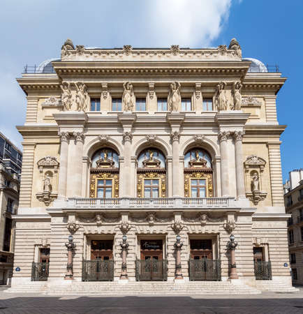 Paris, France - April 14, 2019: Opera Comique (Comic Opera) facade in Paris
