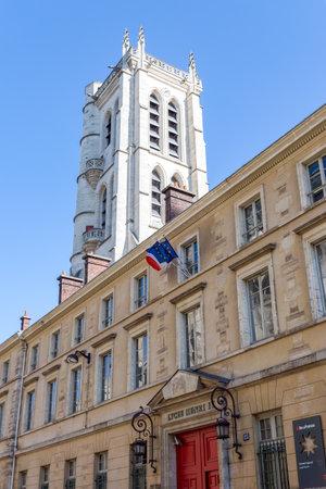 Paris, France - May 14, 2019: Lycee Henri-IV and Clovis bell tower in Paris, France. The Lycee Henri-IV is a public secondary school in Latin quarter. Editorial