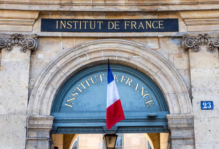Paris, France - May 14 2019: France Institute Entrance (Institut de France), French Learned Society Editorial