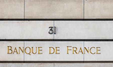 Paris, France - April 14, 2019: Banque de France sign on the facade of a building at rue Croix des Petits Champs in Paris