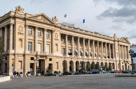 Paris, France - February 21 2020: Hotel de la Marine and Hotel de Crillon located on the Place de la Concorde.