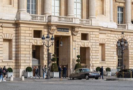 Paris, France - February 21 2020: Hotel de Crillon, an historic hotel located on the Place de la Concorde.