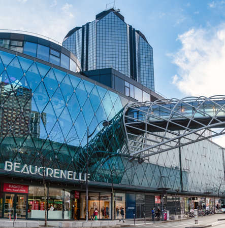 Paris, France - February 26 2020: Beaugrenelle shopping mall in winter Editorial