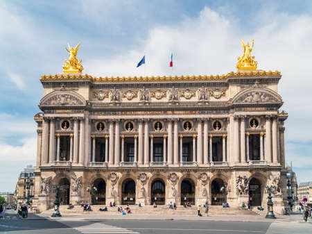 Paris, France - May 12 2020: Opera Garnier and The National Academy at the end of the Covid-19 Lockdown