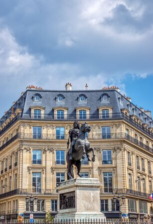 Paris, France: Equestrian statue of King Louis XIV at Place de Victoires (Victory Square) comissioned by King Louis XVIII to Francois Joseph Bosio.