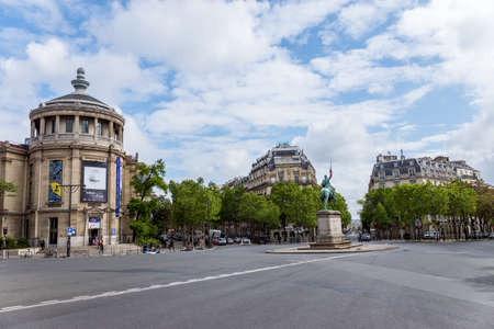 Paris, France - May 5, 2019: Place Iena in Paris with George Washington statue and Musee Guimet