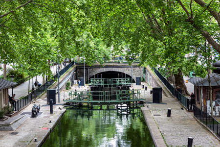 Paris, France - May 26 2019 - Lock of the Canal Saint-Martin