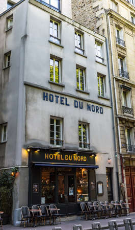 Paris, France - June 1 2019: The Hotel du Nord on the banks of the Canal Saint-Martin in Paris. It was the setting of a famous movie in 1938. Editorial