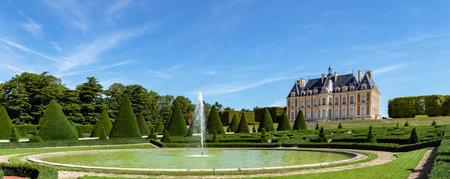 Sceaux, France - August 30 2019: Panoramic view of Parc de Sceaux with its castle in summer - Hauts-de-Seine, France.