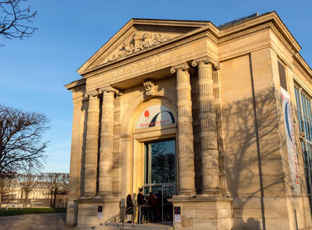 Paris, France, February 13, 2019: The Musee de l'Orangerie entrance. The Musee de l'Orangerie is an art gallery of impressionist and post-impressionist paintings.