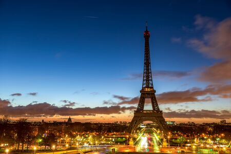 Sunrise over Eiffel tower seen from Trocadero - Paris, France.