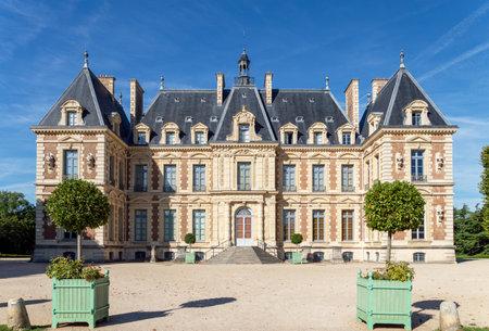 Sceaux, France - August 30 2019: Entrance to Chateau de Sceaux, a castle inside parc de Sceaux - Hauts-de-Seine, France.