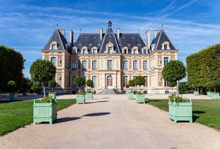 Entrance to Chateau de Sceaux, a castle inside parc de Sceaux - Hauts-de-Seine, France.