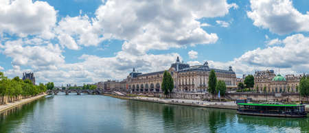 Paris, France - June 15 2020: Panoramic of Musee dOrsay, Hotel de Salm and Seine river with Notre Dame and Institut de France in the Background - Paris, France Editorial
