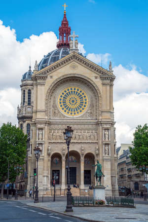 Paris, France - June 18 2020: Church of Saint Augustin and equestrian statue of Jeanne dArc (by Paul Dubois 1829-1905) - Paris, France. Editorial