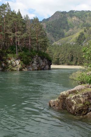 chemal: A river Chemal. Mountains Altai.