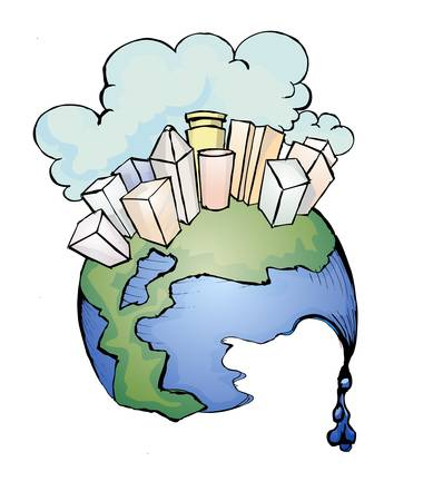 atmosphere construction: metropolitan on the melting globe Illustration