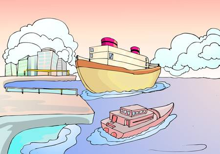 boat harbor with city background Illustration