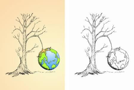 globe hung on the dry tree Vector