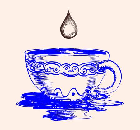 sketch of cup and drop of coffee