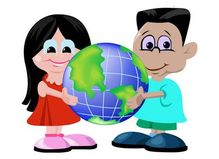 Boy and girl holding globe Vector