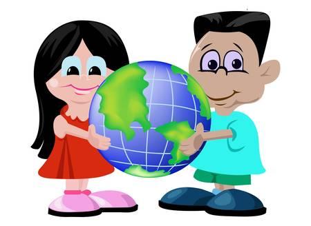 planeta tierra feliz: Chico y chica de celebraci�n mundo