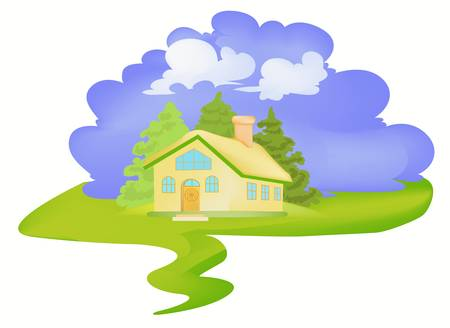 clouds: garden: Little house in village Illustration