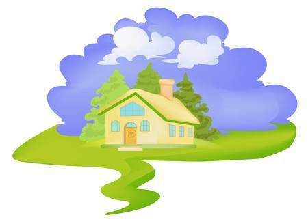 Pequeña casa en la aldea de