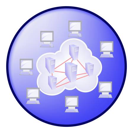Cloud computing concept in blue circle Vector