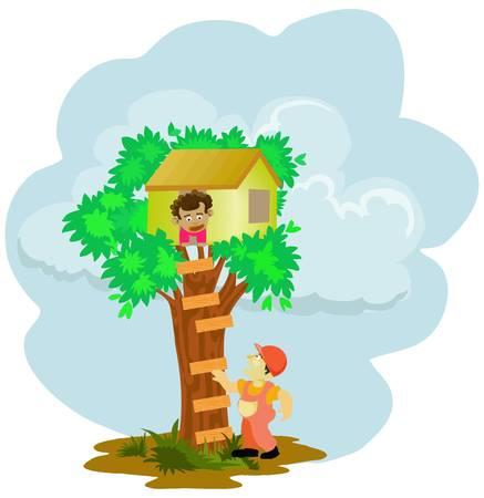 Little boy stuck on tree house Stock Vector - 11376973