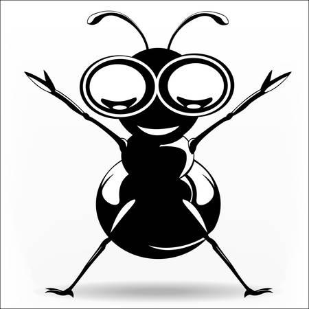 Black ant rising hand