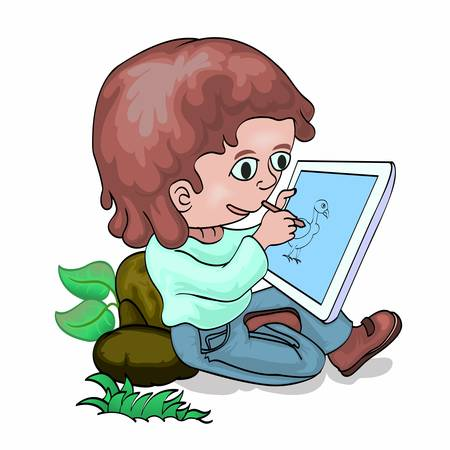 tablet pc in hand: Boy drawing on tablet PC