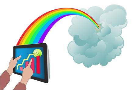 Cloud computing with tablet PC Stock Vector - 12479870