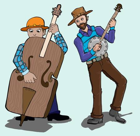 banjo: country music player Illustration