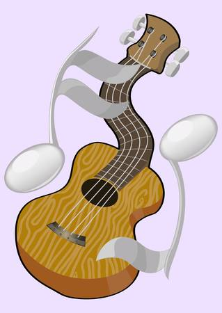 guitar and partitiur 2 Illustration