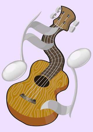 guitar and partitiur 2 Illustration