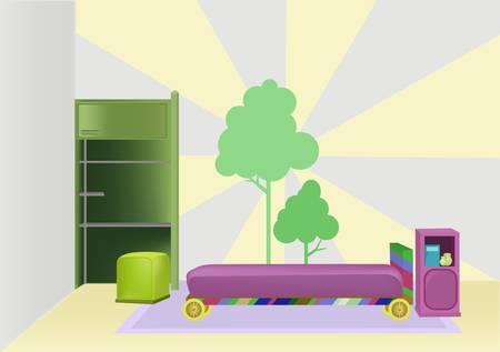 child bedroom: dormitorio con cama de color morado y la imagen del �rbol en la pared Vectores