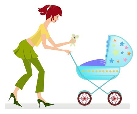 mother pushing baby stroler Vector