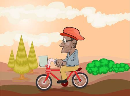 old man riding bike Stock Vector - 12479894