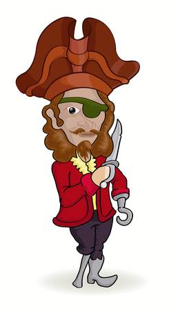 wooden hat: pirate holding knife