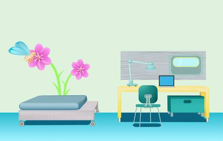 bedroom with green wall and flowe picture Illustration
