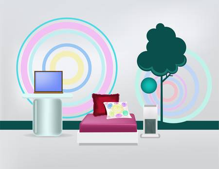 bedroom with laptop and pisture of tree Illustration