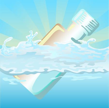 floating bottle on water Vector