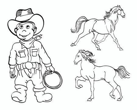 corral: little cowboy with horses