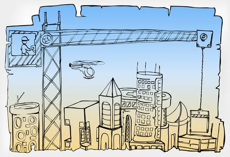 hand draw of city development