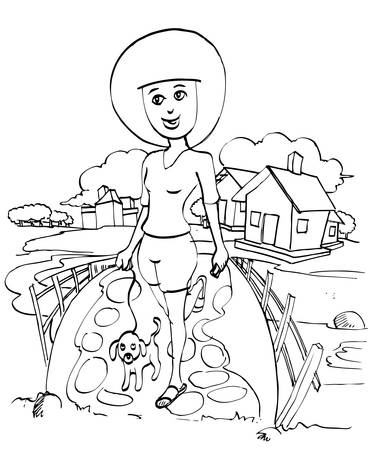 girl walking with dog in outline Stock Vector - 12479806