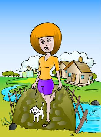 girl walking with dog in color Vector