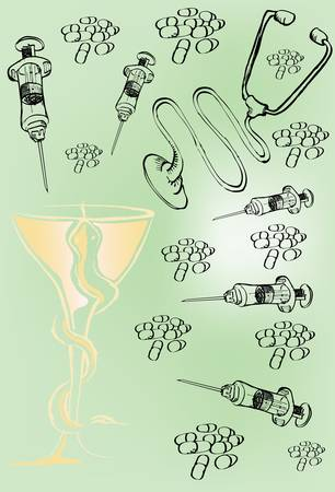 Syringes, pills and stethoscopes Vector