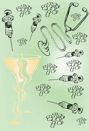 Syringes, pills and stethoscopes