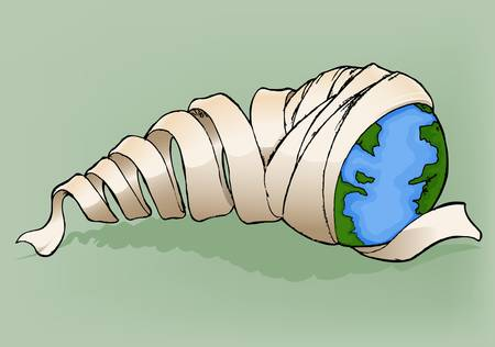 Earth with bandage Vector